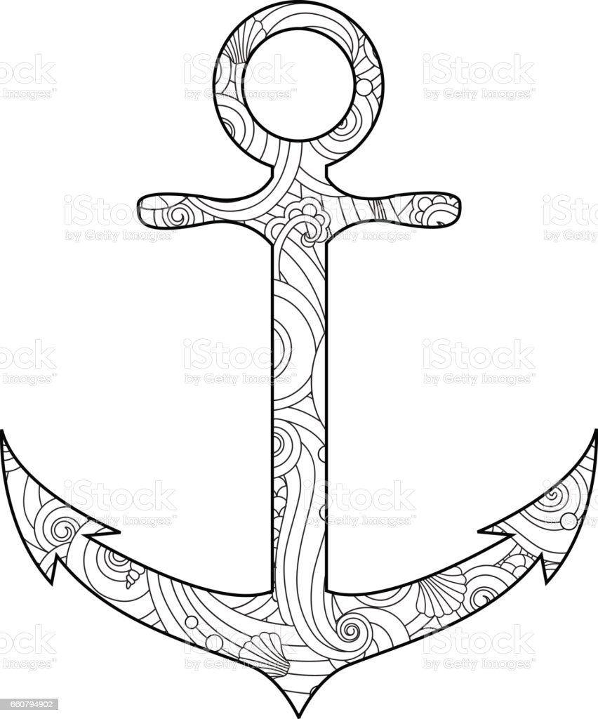 Coloring Page With Anchor Isolated On White Background In ...