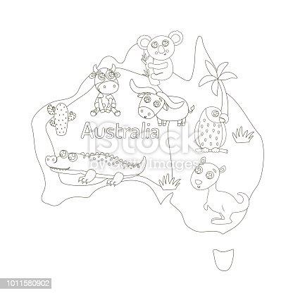 istock Mapa de Australia con animales de la historieta para niños ...