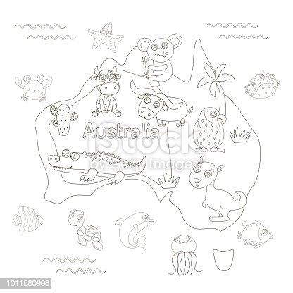 Ilustración de Página Con Mapa Animal De Australia Para Colorear ...
