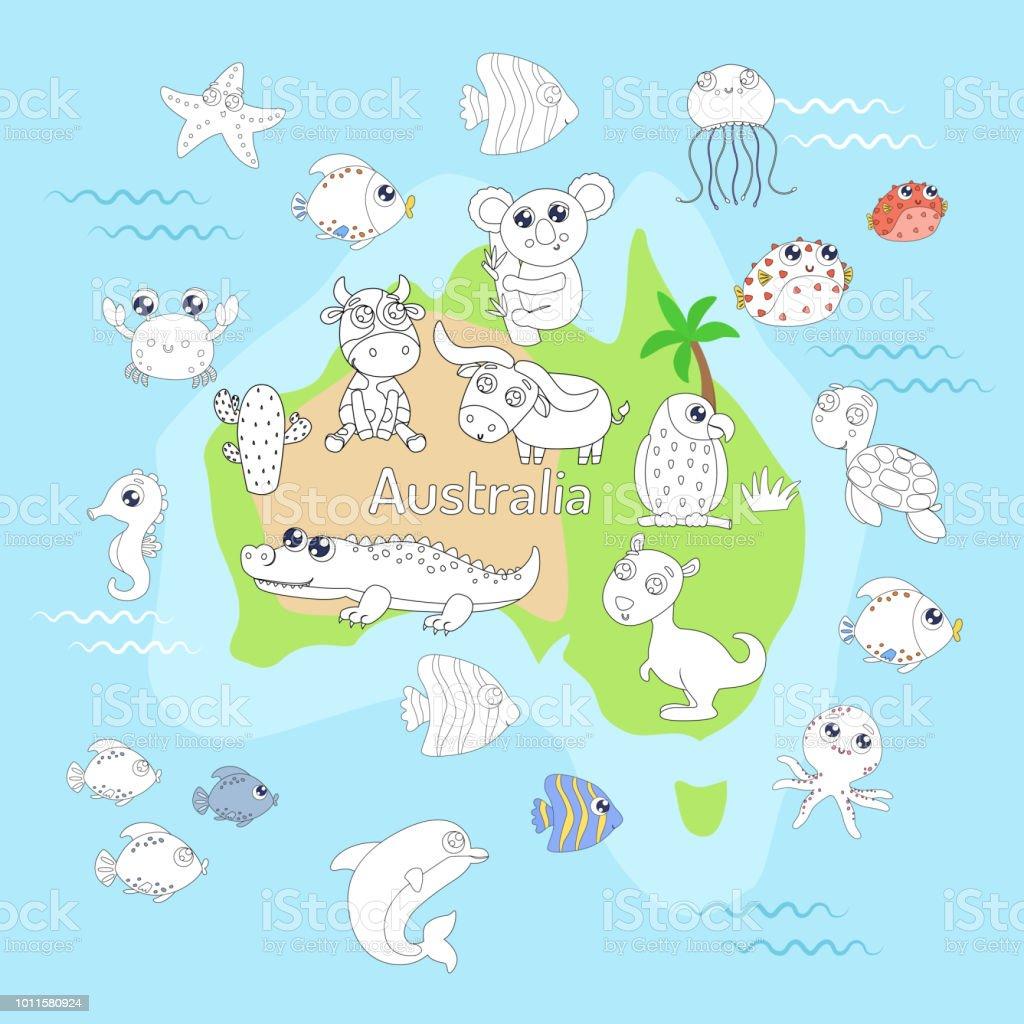Malvorlagen Mit Tieren Karte Von Australien Für Kinder Stock Vektor ...