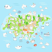 Coloring page with animal map of Eurasia for kids.