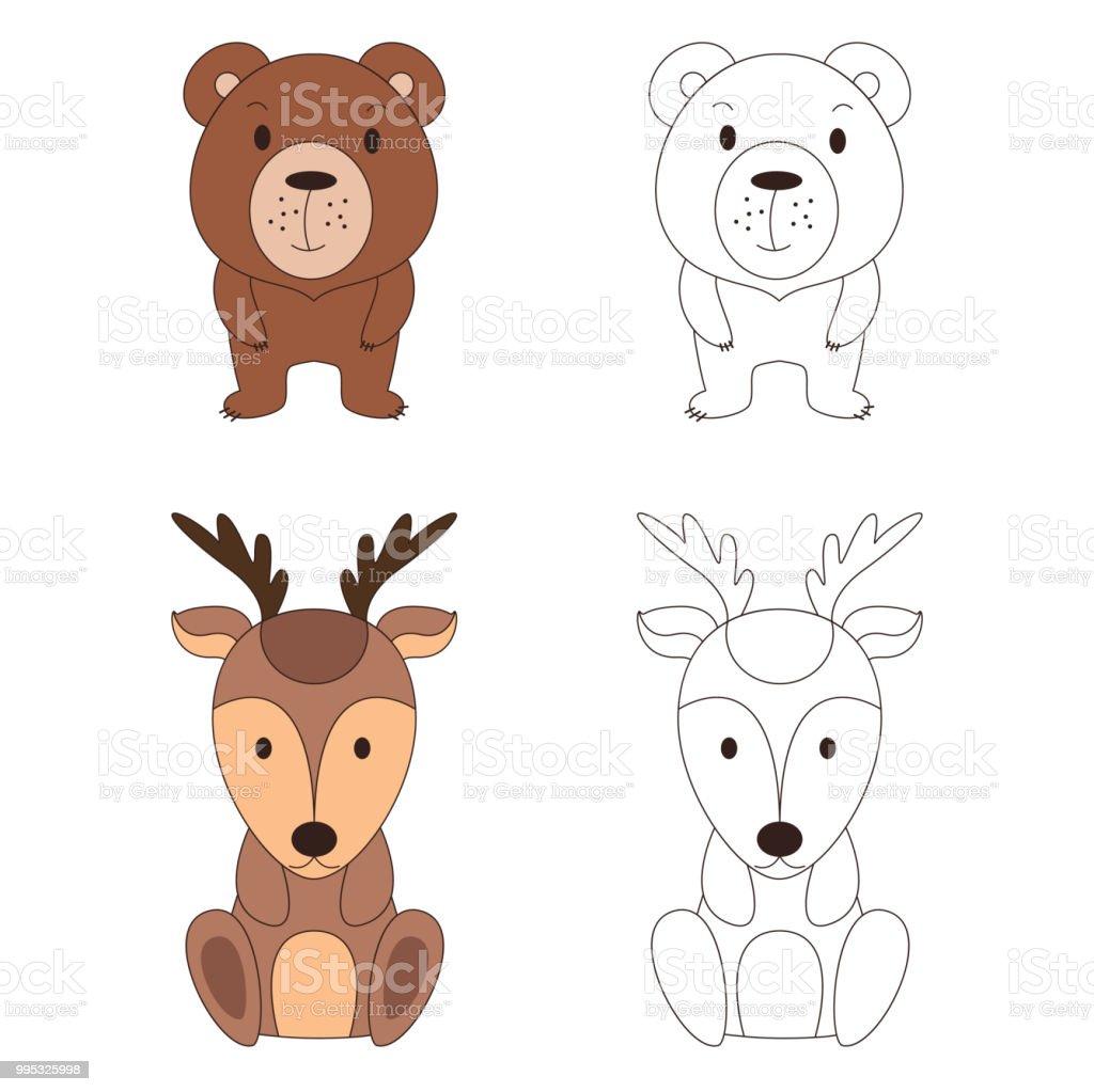 Ilustración De Página Para Colorear Con Animales Ciervos Salvajes Y