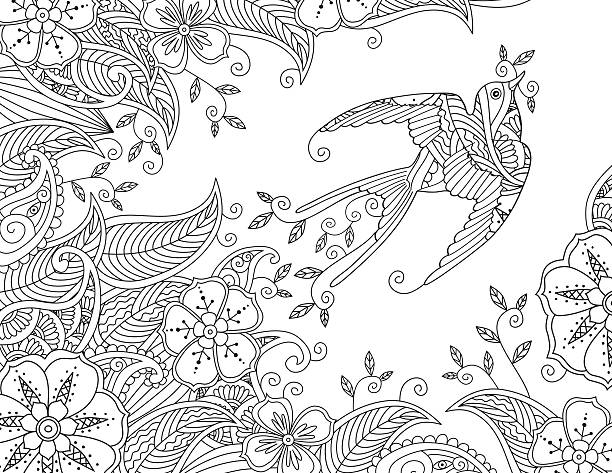 Coloring page with beautiful flying bird and floral background. vector art illustration
