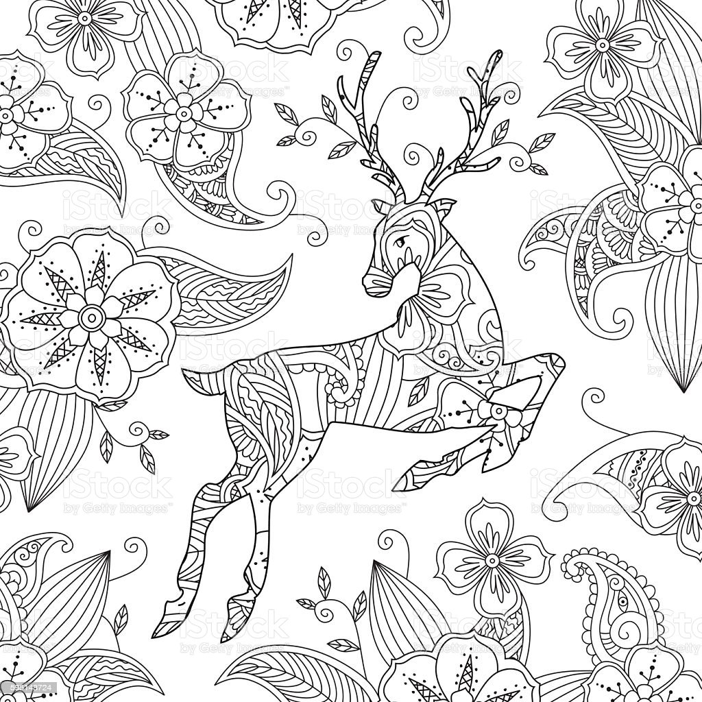 Coloring Page With Beautiful Running Deer And Floral Background ...