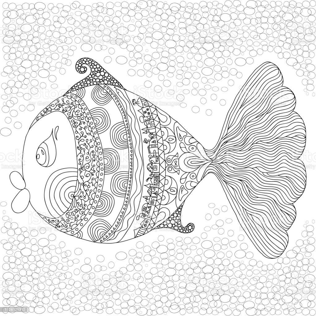 Grote Kleurplaten Voor Volwassenen.Kleurplaat Met Grote Vis In Het Water Geisoleerd Op Een