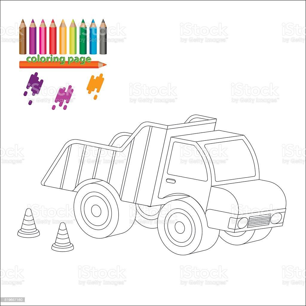 Coloriage Gros Camion.Page De Coloriage Avec Gros Camion Vecteurs Libres De Droits Et