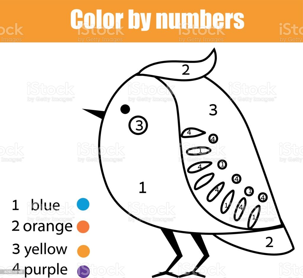 coloring page with bird color by numbers educational children game