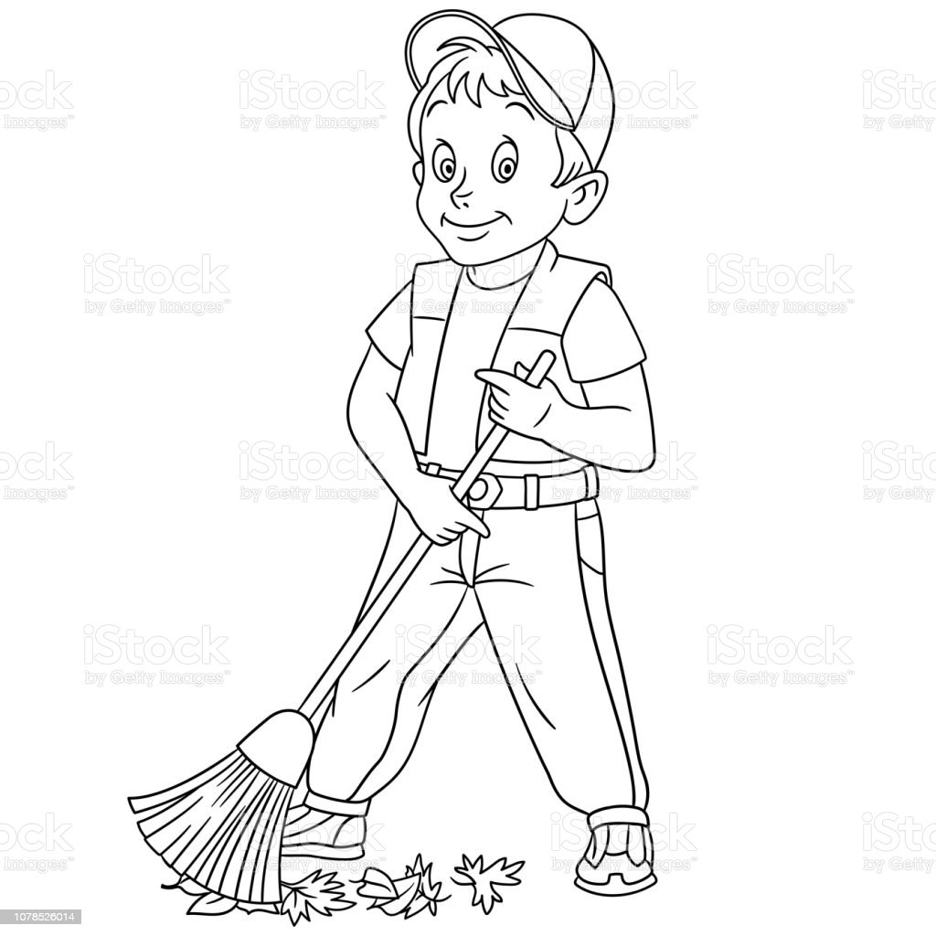 coloring page with boy sweeping stock illustration download image now istock coloring page with boy sweeping stock illustration download image now istock