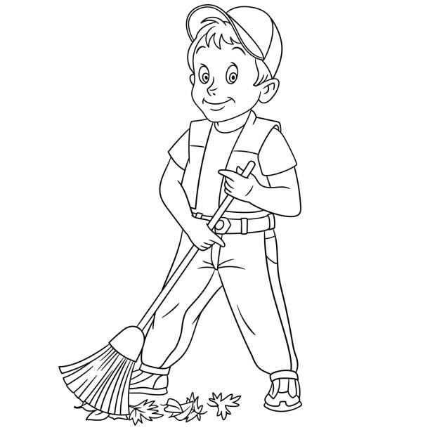 sweeping the floor coloring pages - photo#11