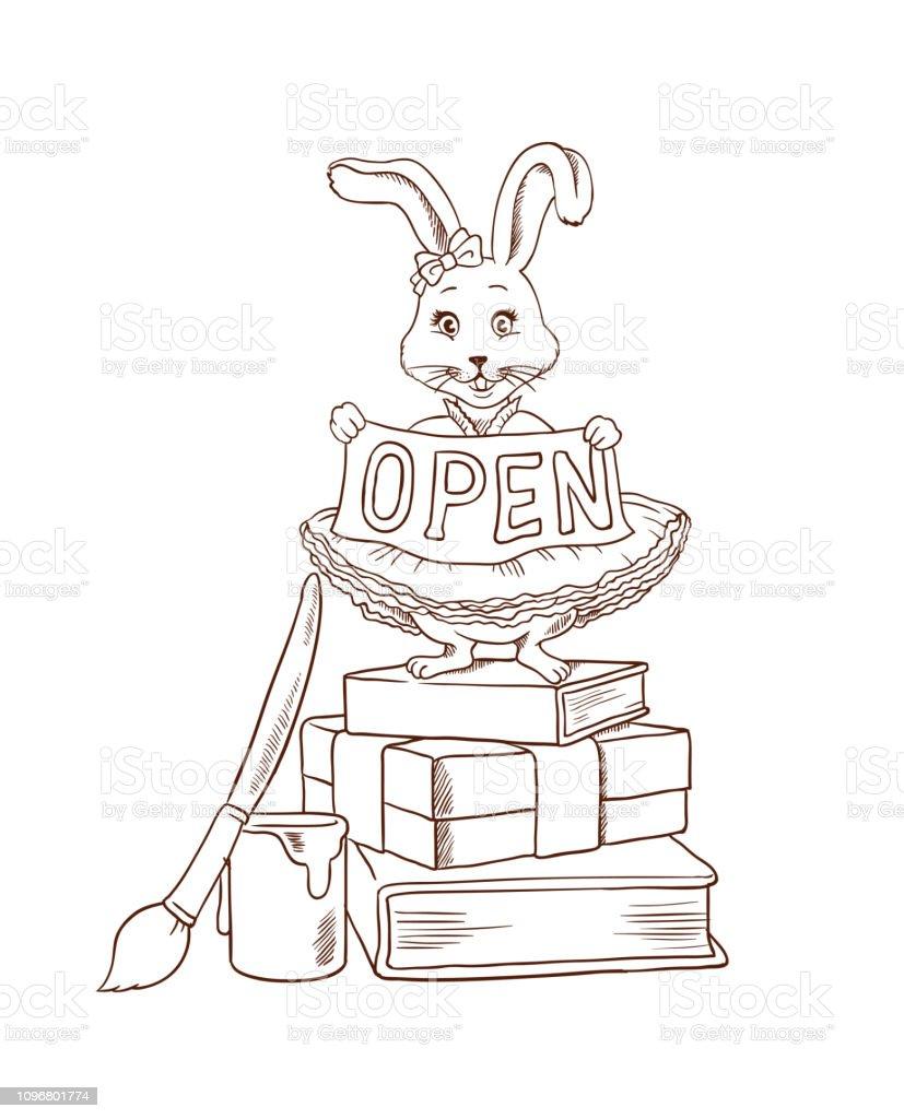 Sayfa Bunny Veya Sevimli Tavsan Ile Kurdele Ile Merhaba Gibi Kisa