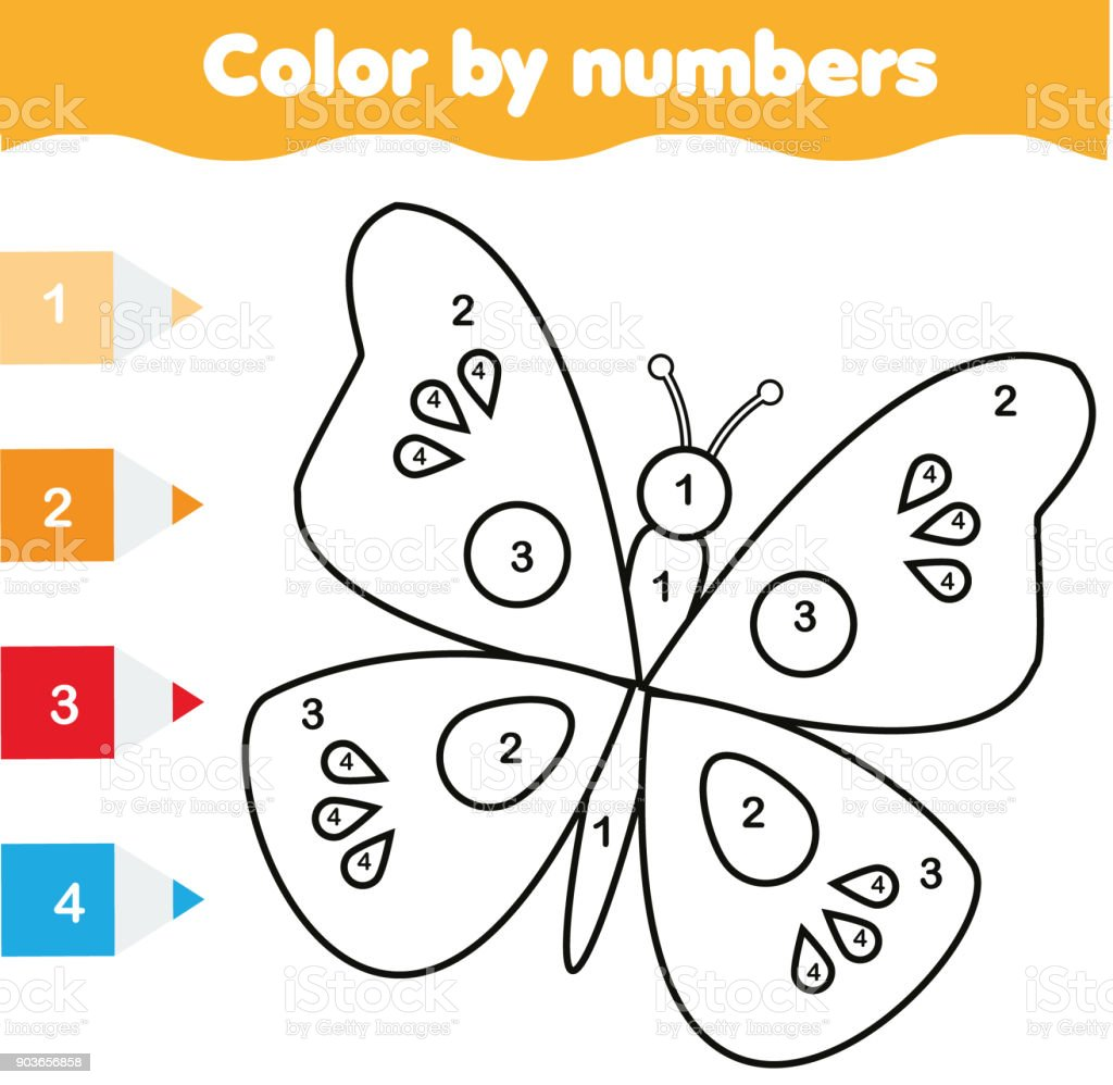 Coloring Page With Butterfly Color By Numbers Educational Children ...