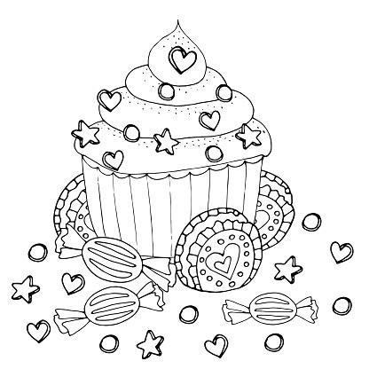 kleurplaat met cake cupcake snoep en andere dessert