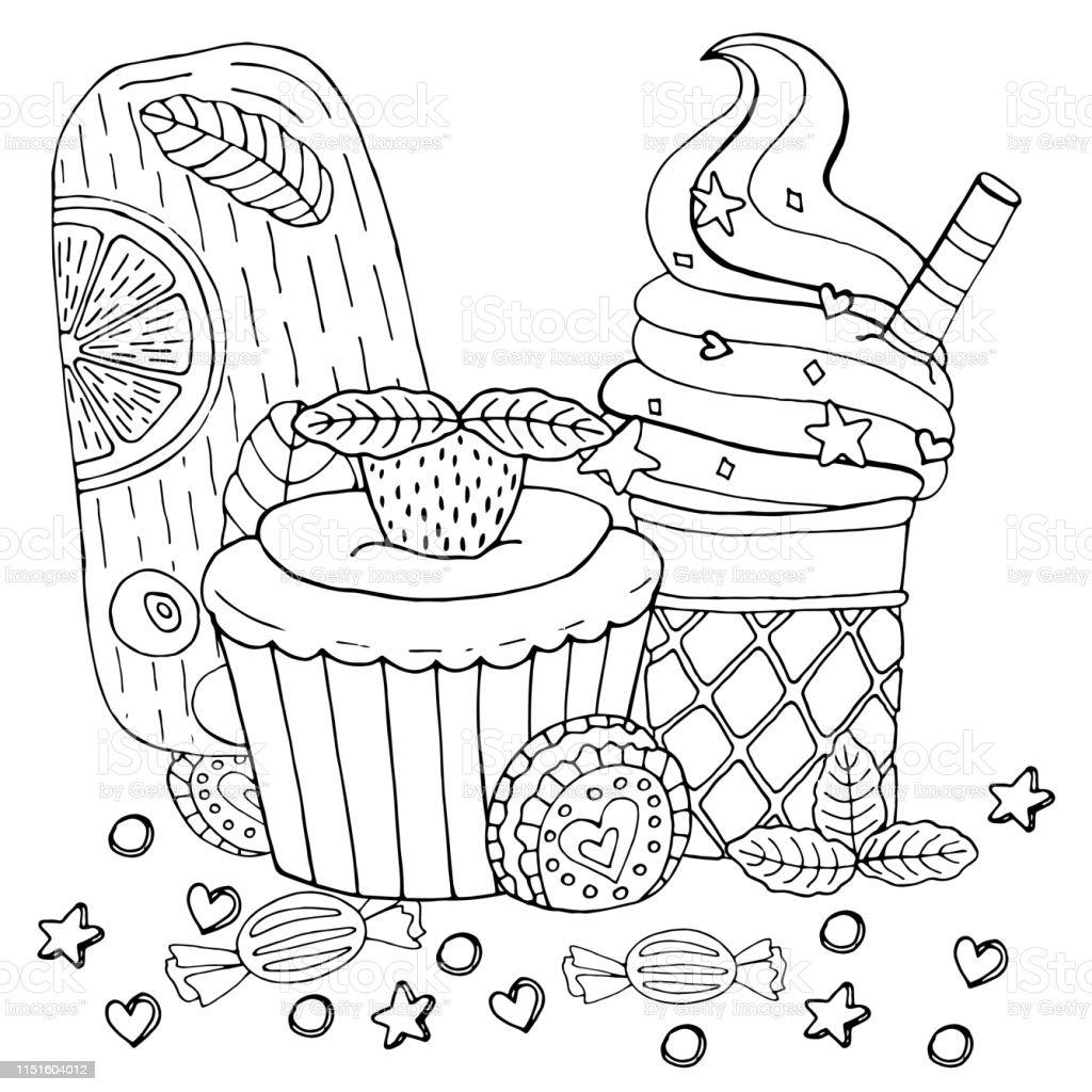 Kek Cupcake Seker Dondurma Ve Diger Tatli Ile Boyama Sayfasi Stok