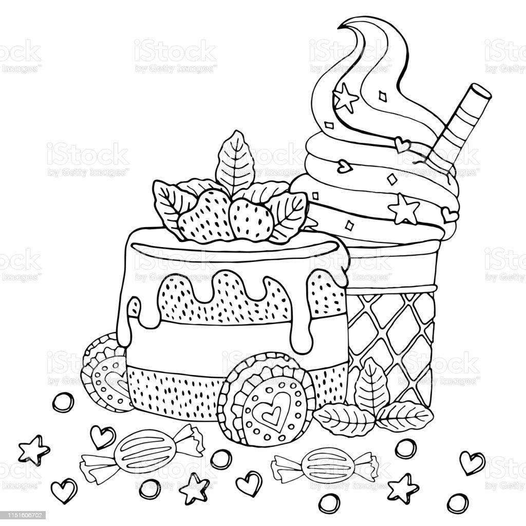 색칠 페이지에 케이크 컵 케이크 사탕 아이스크림 및 기타 디저트 0명에 대한 스톡 벡터 아트 및 기타 ...