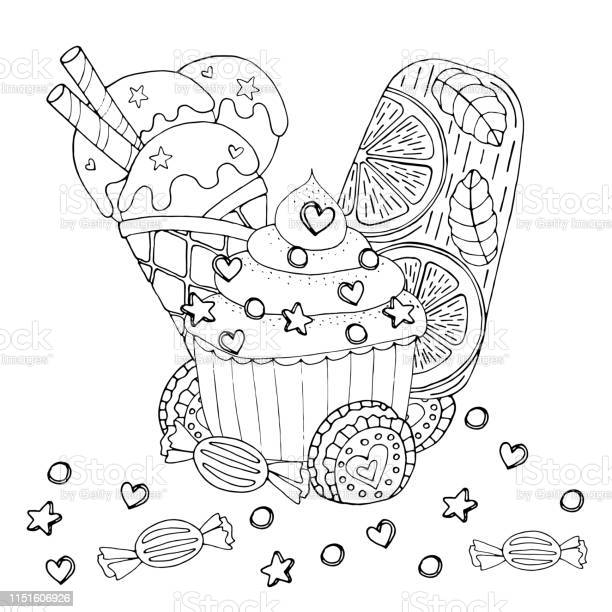 Coloring Page With Cake Cupcake Candy Ice Cream And Other Dessert Stock Illustration Download Image Now Istock