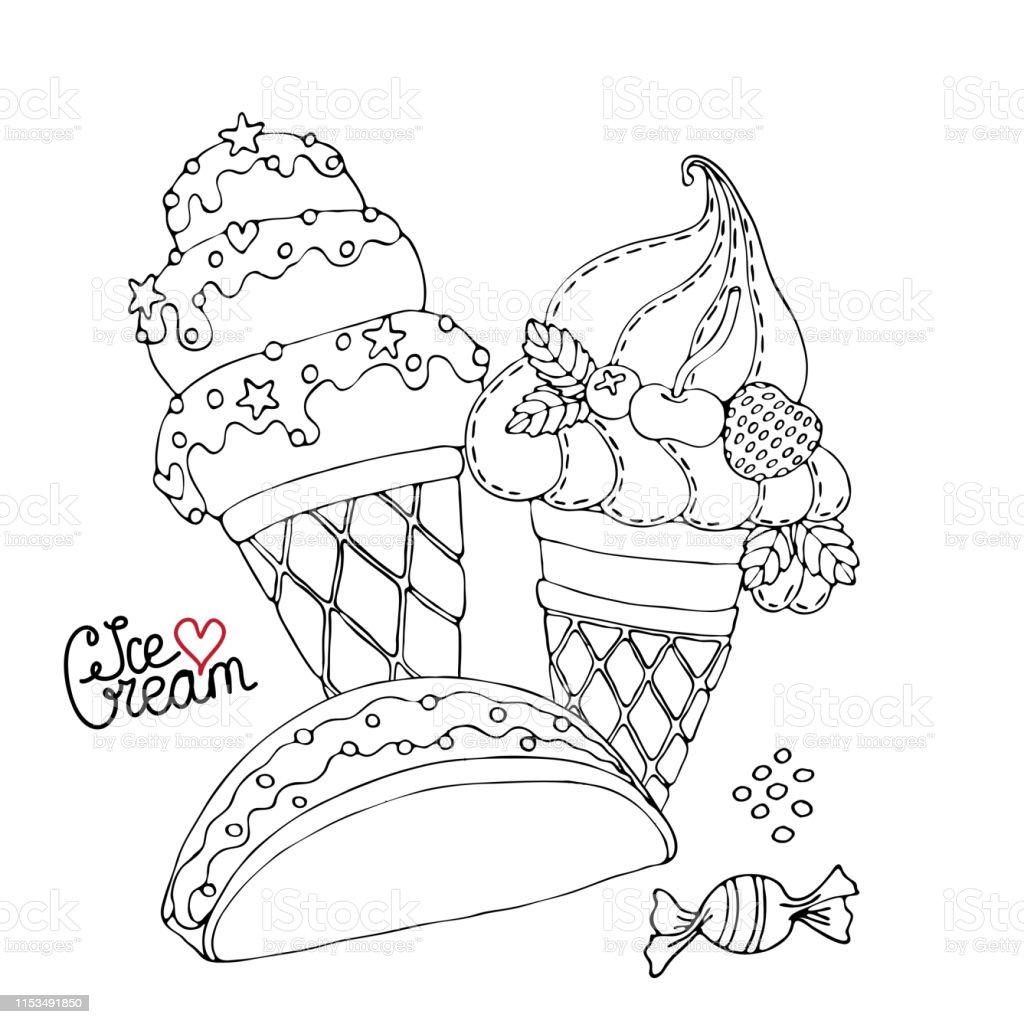 Kek Cupcake Dondurma Seker Ve Diger Tatli Ile Boyama Sayfasi Stok