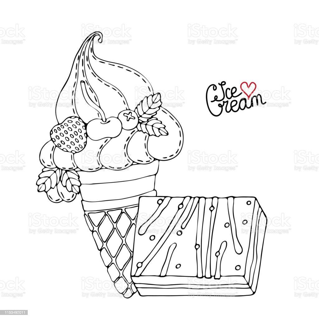 Ilustración De Página Para Colorear Con Pastel Cupcake
