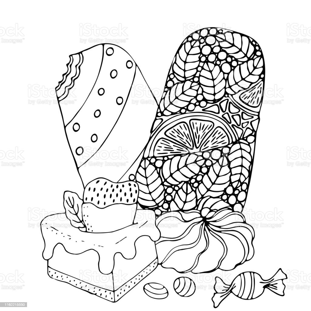 Kek Dondurma Cupcake Seker Ve Diger Tatli Ile Boyama Sayfasi Stok