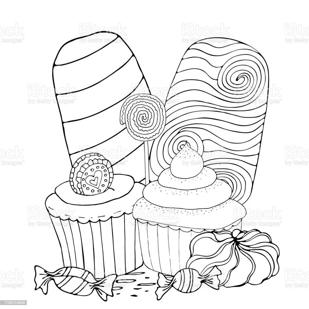 Ilustración De Página Para Colorear Con Pastel Helado