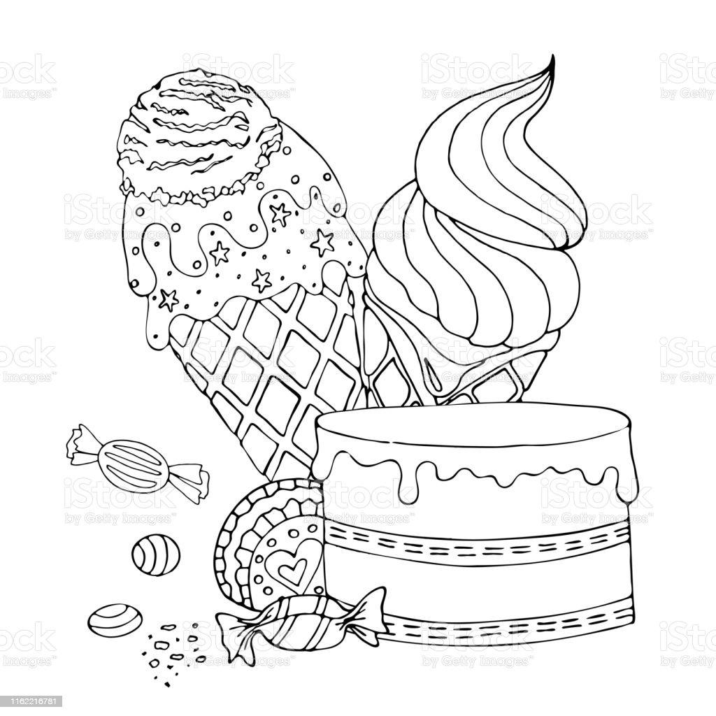 kleurplaat pagina met cake ijs cupcake snoep en andere