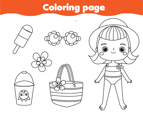 Coloring page with cartoon summer girl and beach objects. Drawing kids activity. Printable fun for toddlers and children