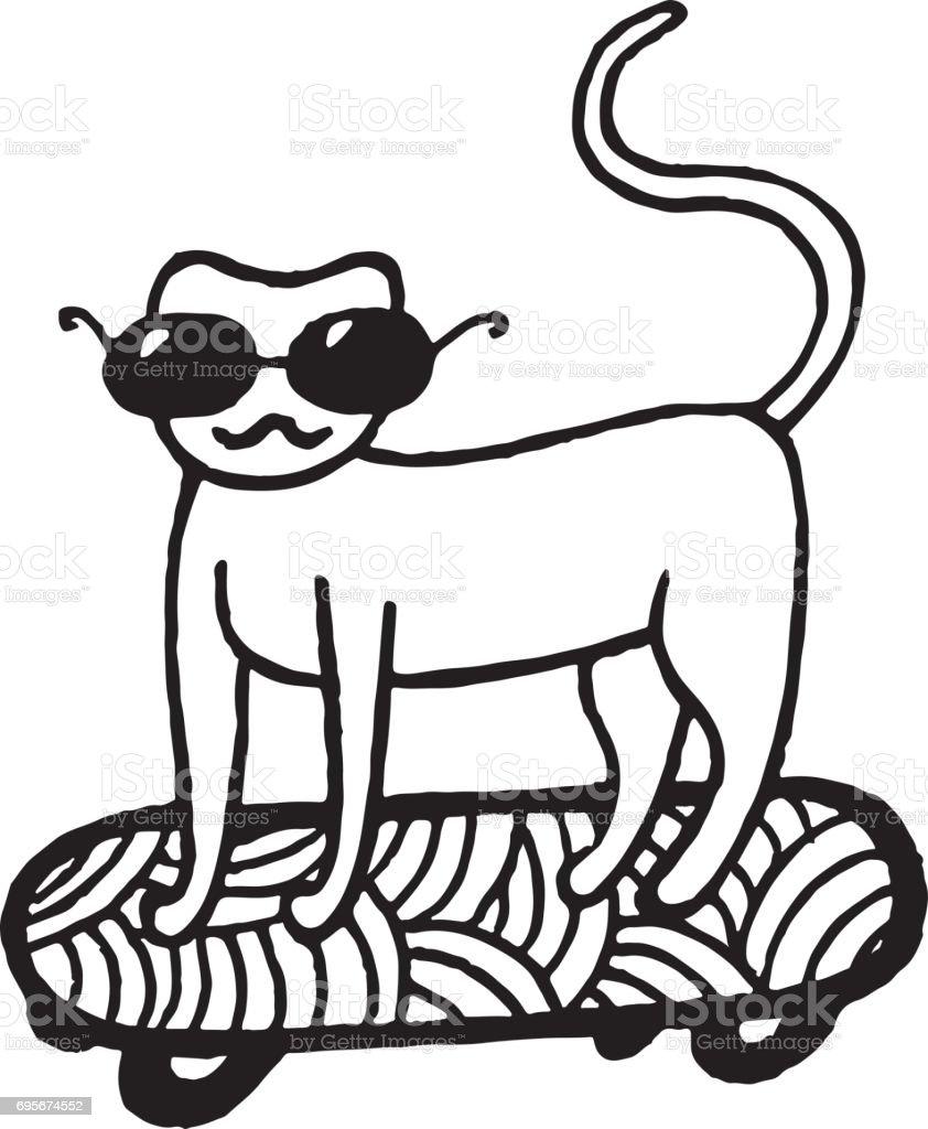 Ilustración de Página Con Gato En Patineta Para Colorear y más banco ...
