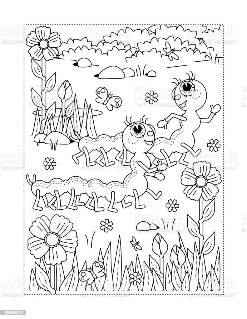 Coloring Page With Caterpillars Flowers Grass Royalty Free