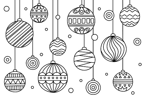 Coloring page with Christmas balls with different patterns. Vector illustration. Anti-tress, meditation for kids and adults