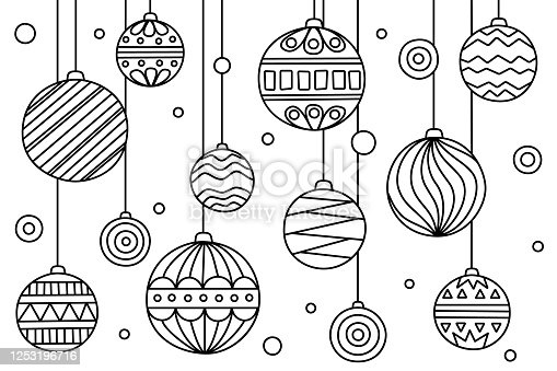 istock Coloring page with Christmas balls with different patterns. Vector illustration. Anti-tress, meditation for kids and adults 1253196716