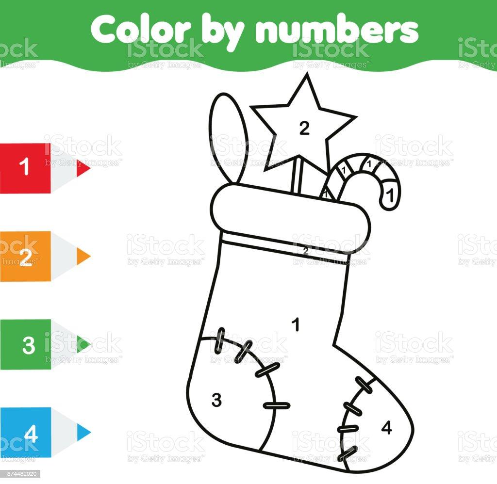 Kleurplaten Kleuren Spelletjes.Kleurplaat Met Kerstmis Sok Kleur Door Getallen Educatief Kinderen