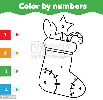 Ilustración de Página Para Colorear Con El Calcetín De La Navidad ...
