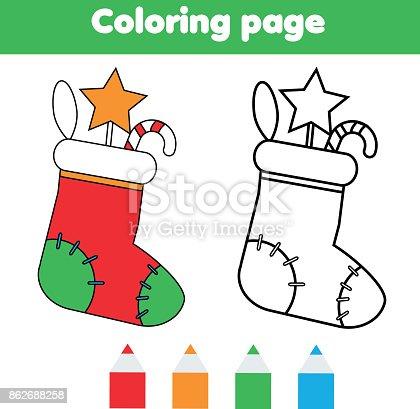 Ilustración de Página Para Colorear Con El Calcetín De Navidad Con ...