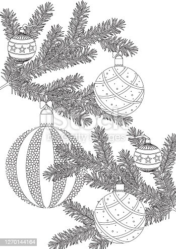 Coloring page with christmas tree branch and balls as decor for adults, outline vector stock illustration as antistress therapy for adults