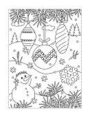 Coloring page with christmas tree ornaments and snowman