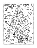Coloring page with christmas tree, snowman, gift