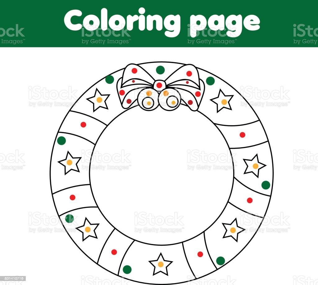 クリスマス リースのぬりえ教育的なゲーム子供たちの活動を描く 2歳