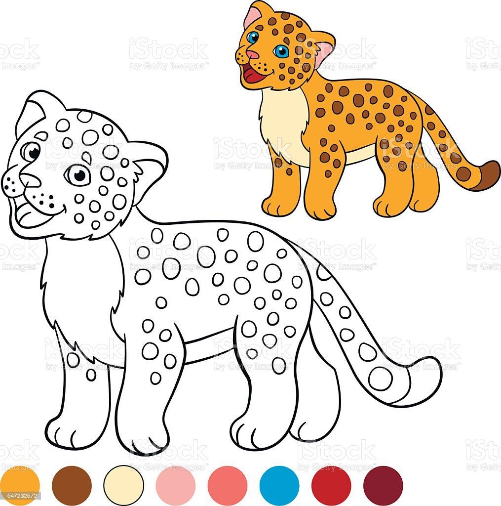Ilustración de Coloring Page With Colors Little Cute Baby Jaguar y ...