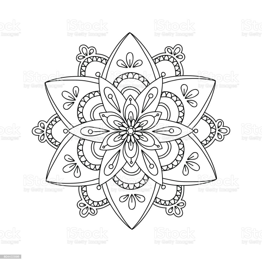 Coloring Page With Contour Drawing Mandala Stock Vector Art More