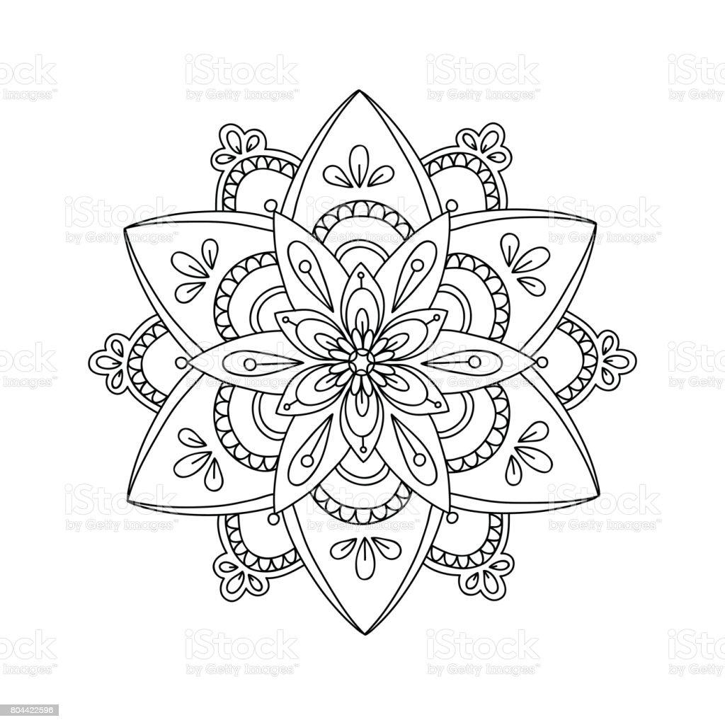 Dağılım çizim Mandala Boyama Sayfası Stok Vektör Sanatı Arabesk