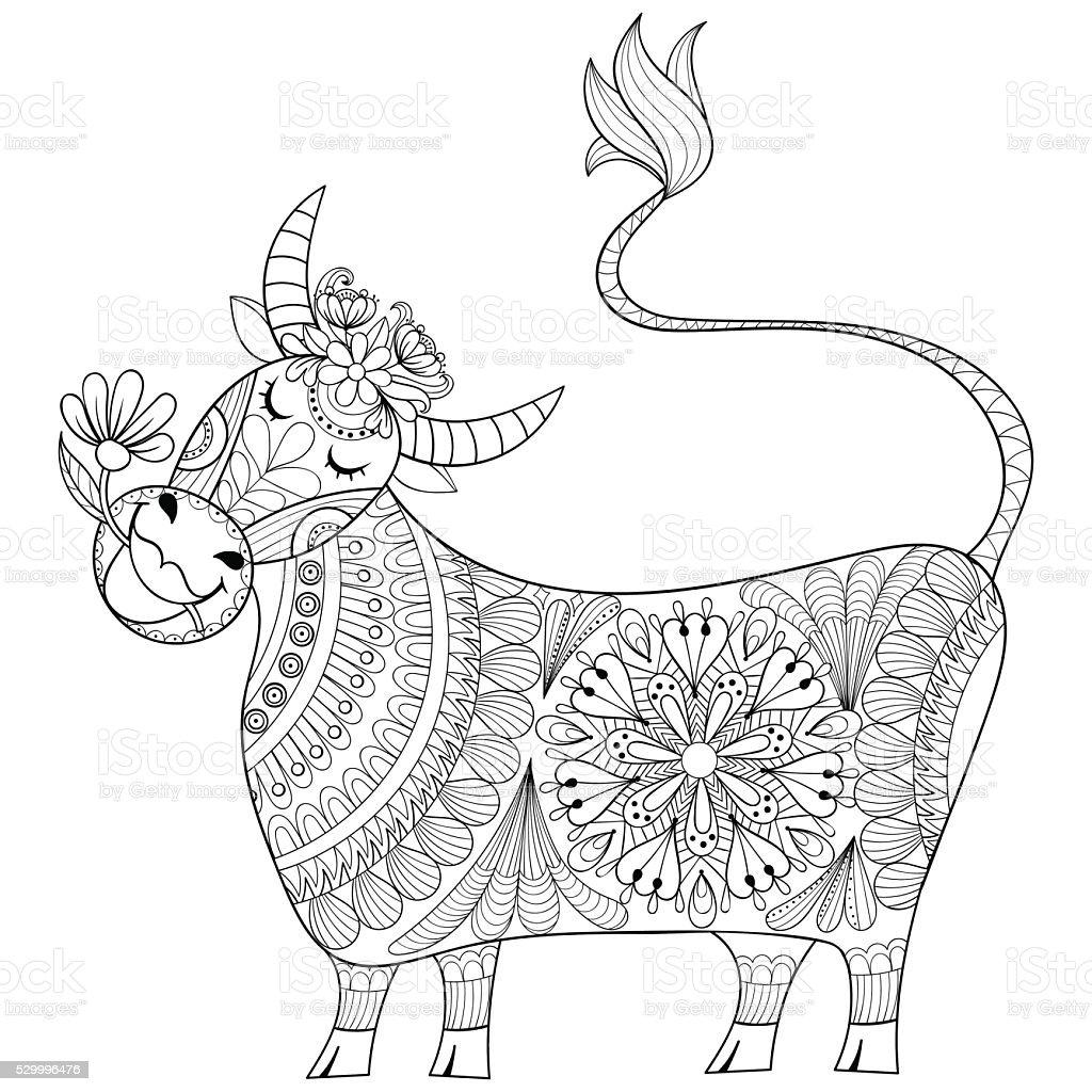 Pagina Da Colorare Con Mucca Stilizzate Mano Disegno Mungitore Illu