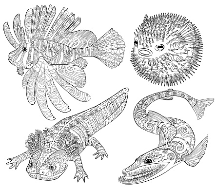 Coloring page with creepy fish with high details