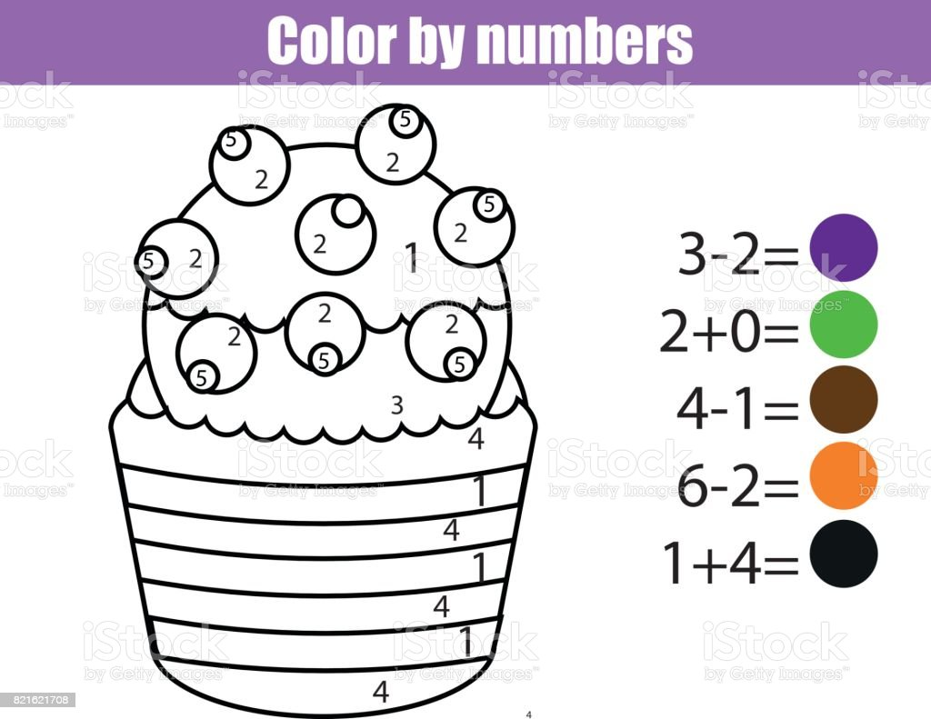 coloring page with cupcake color by numbers educational children