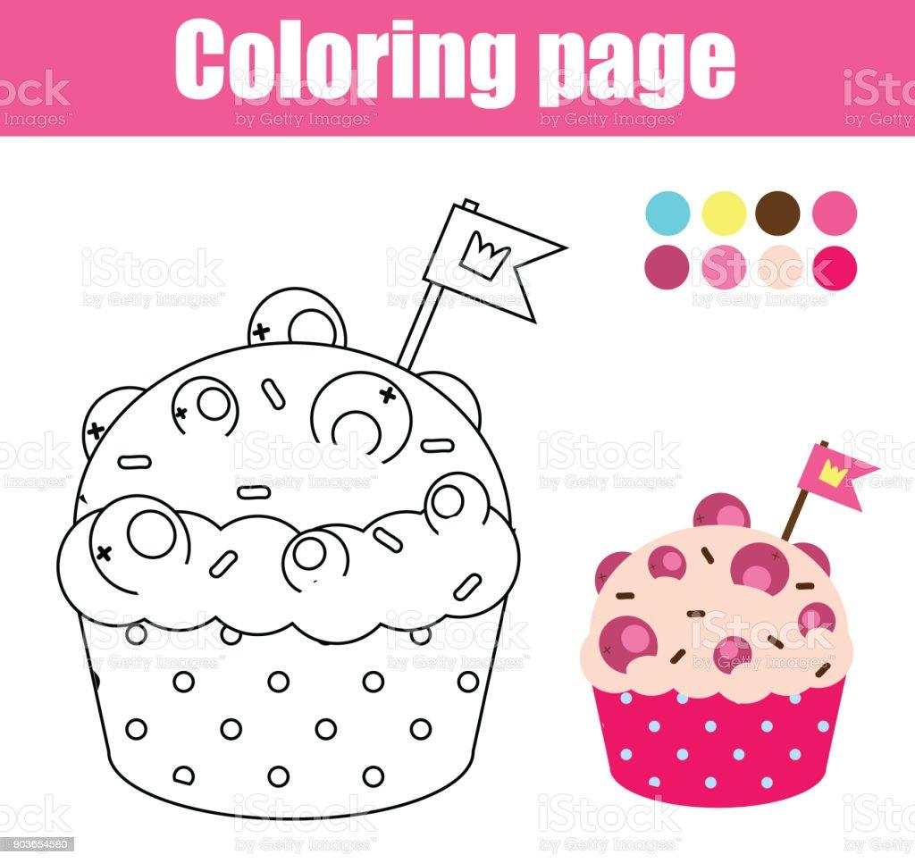 Kek Boyama Sayfası çizim çocuklar Oyun Yazdırılabilir Etkinliği Stok