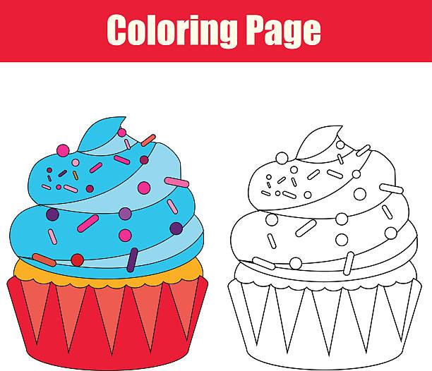 färbung seite mit cupcake - schulbedarfskuchen stock-grafiken, -clipart, -cartoons und -symbole