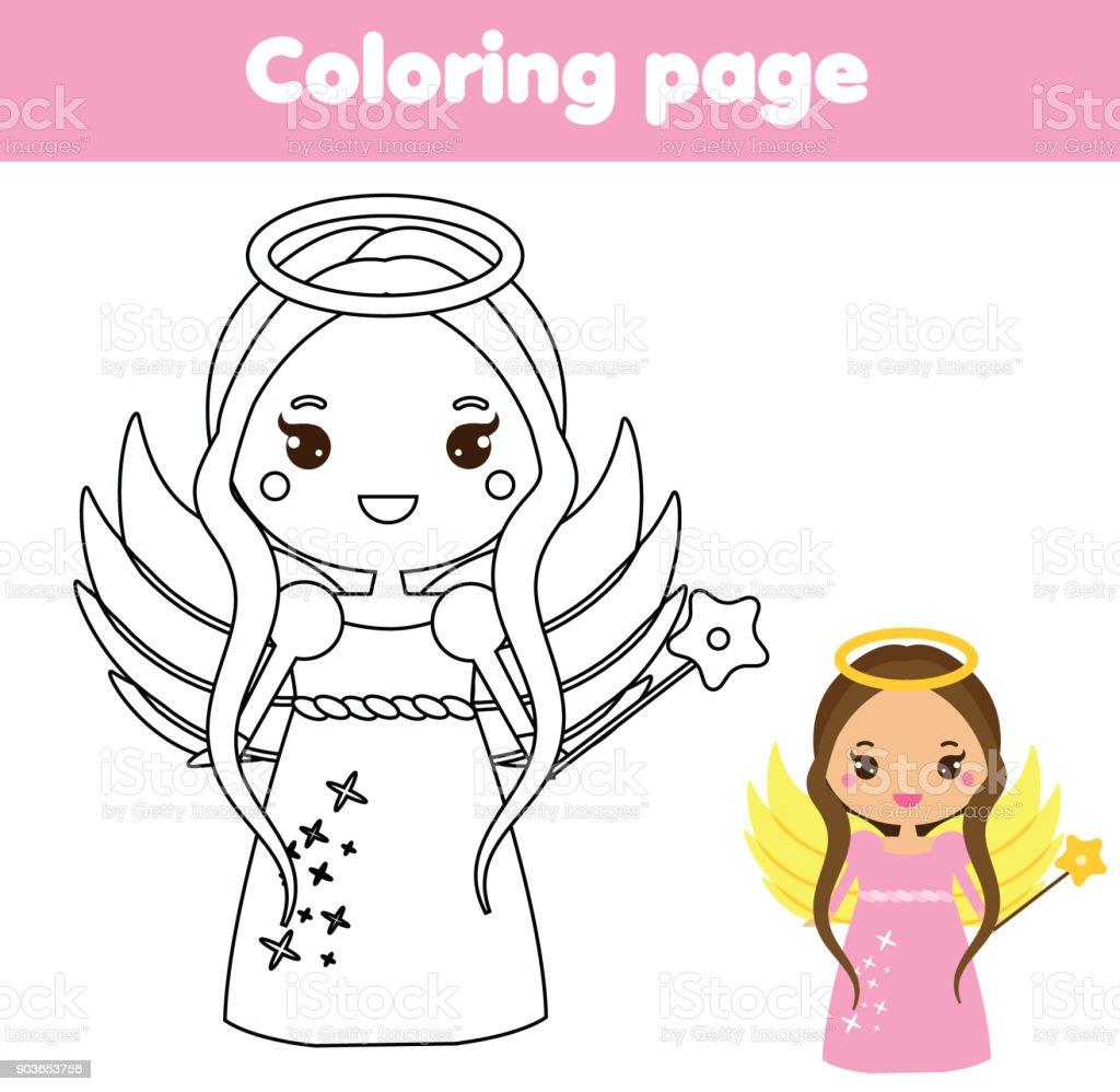 Ilustración De Página Para Colorear Con Carácter Lindo ángel