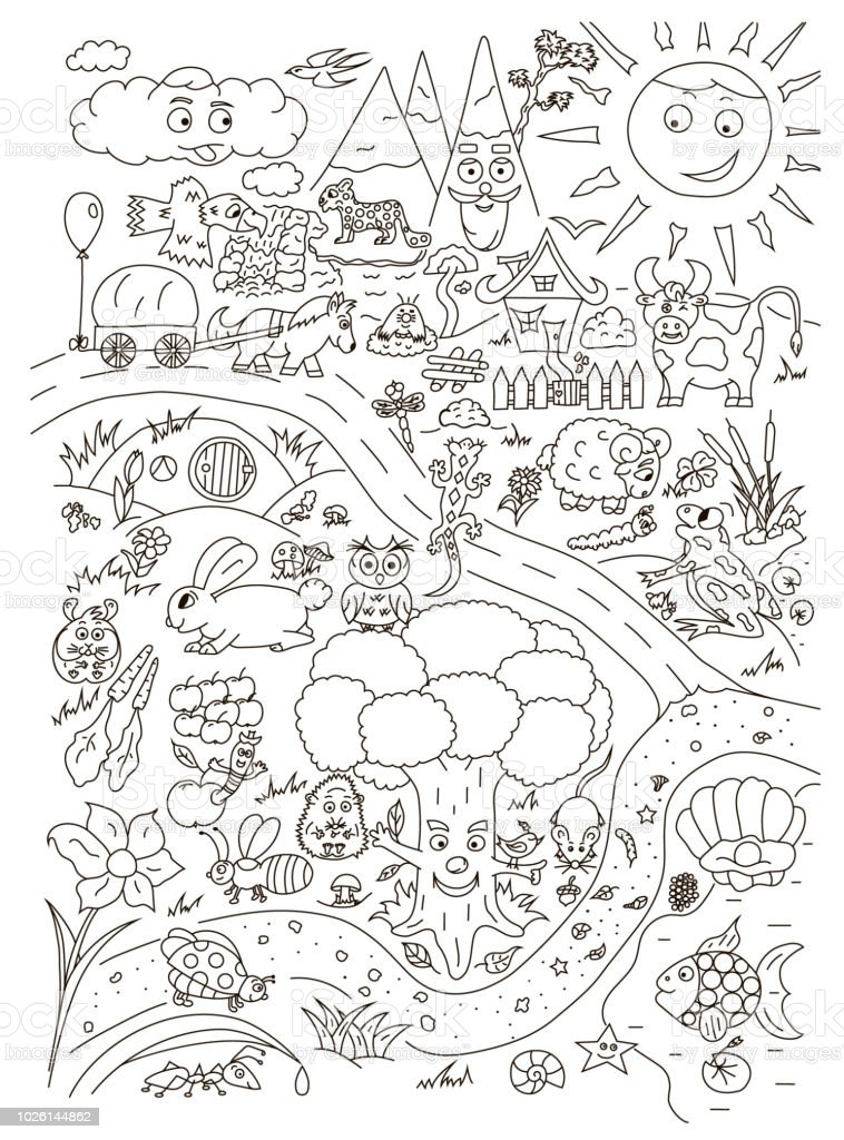 Coloring page with cute baby animals. Vector isolated royalty-free coloring page with cute baby animals vector isolated stock illustration - download image now