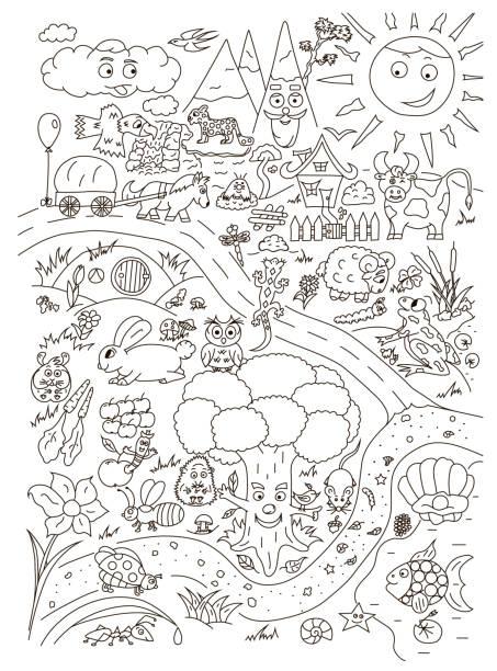 귀여운 아기 동물 들과 함께 색칠 페이지입니다. 고립 된 벡터 - 색칠하기 stock illustrations