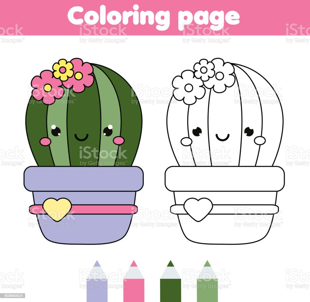 Coloring Page With Cute Cactus Drawing Kids Game Printable Activity ...