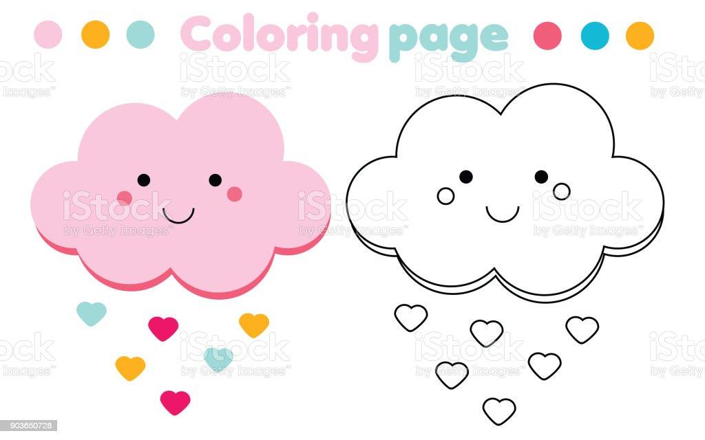 Ilustración de Página Para Colorear Con Nube Linda Dibujo Juego De ...
