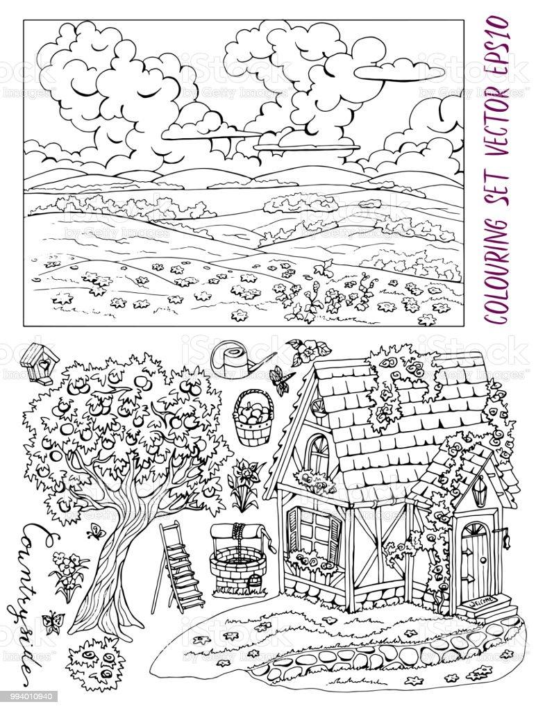 Ilustración De Página Con Linda Casa De Campo Paisaje De